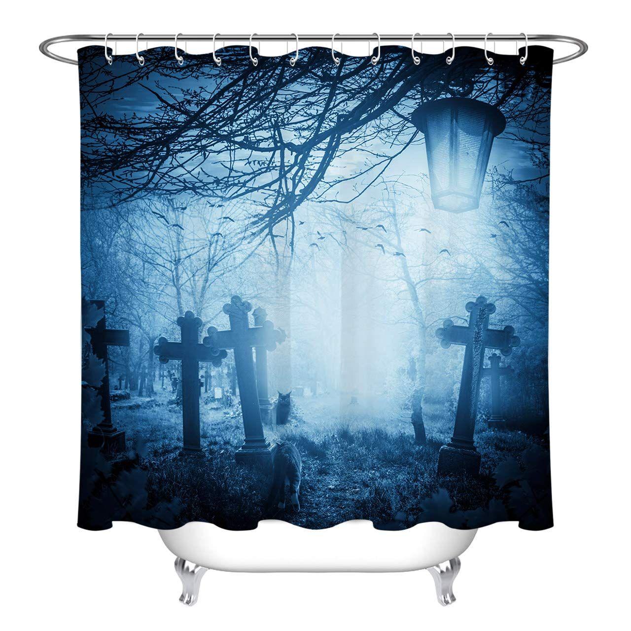 Lb Spooky Grave In Dark Forest Woods Artistic Shower Curtain Halloween Horror Themed Bathroom 70 X Halloween Shower Curtain Fabric Shower Curtains Dark Forest
