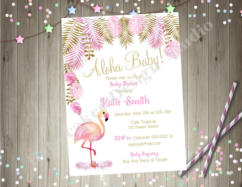 Flamingo Tropical Baby Shower Invitation Invite Baby Sprinkle Luau ...
