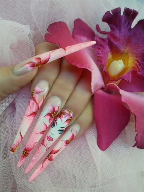 WOW Pretty but way to long. PRETTY IN PINK - Nail Art Gallery ...