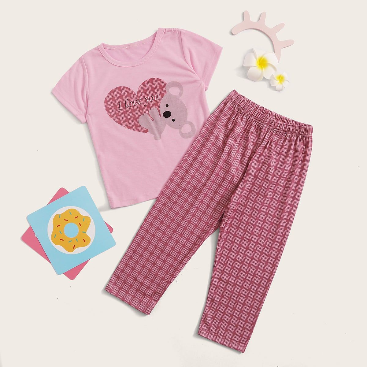 Toddler Girls Plaid amp Cartoon Graphic PJ Set Pink Casual Short Sleeve Rayon Plaid Cartoon Slight Stretch Toddler Girl Loungewear size features areBust Length Sleeve Len...