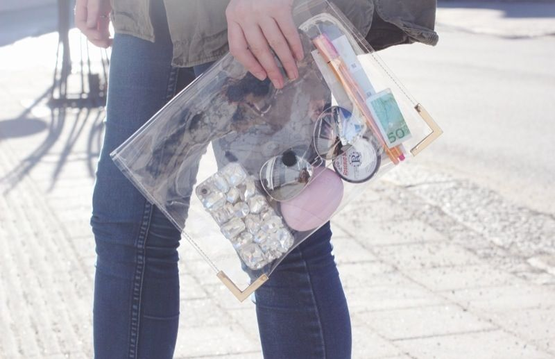 fashion outfit www.krist.in  transparent clutch / clear clutch