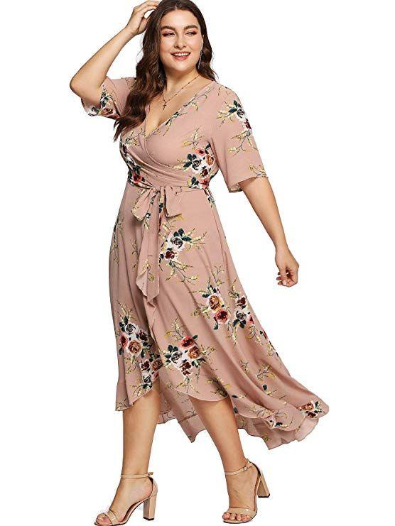 91ea06d24778 Milumia Plus Size Short Sleeves Wrap V Neck Belted Empire Waist  Asymmetrical High Low Bohemian Party Maxi Dress Pink 3XL