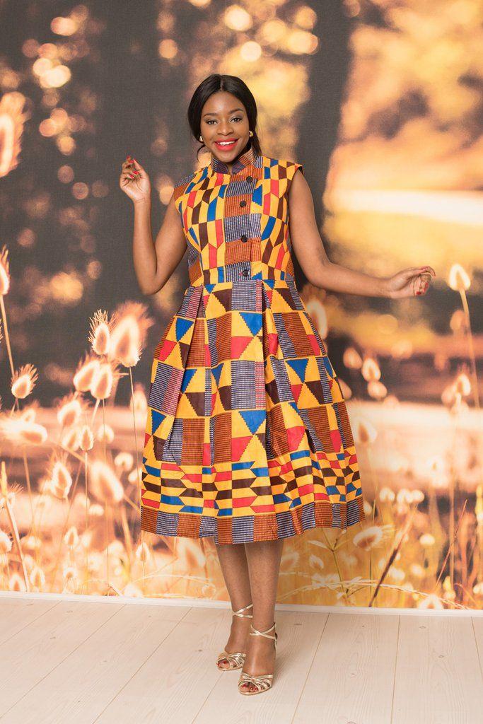 Carla Kente Print Midi Dress in 2020 African fashion