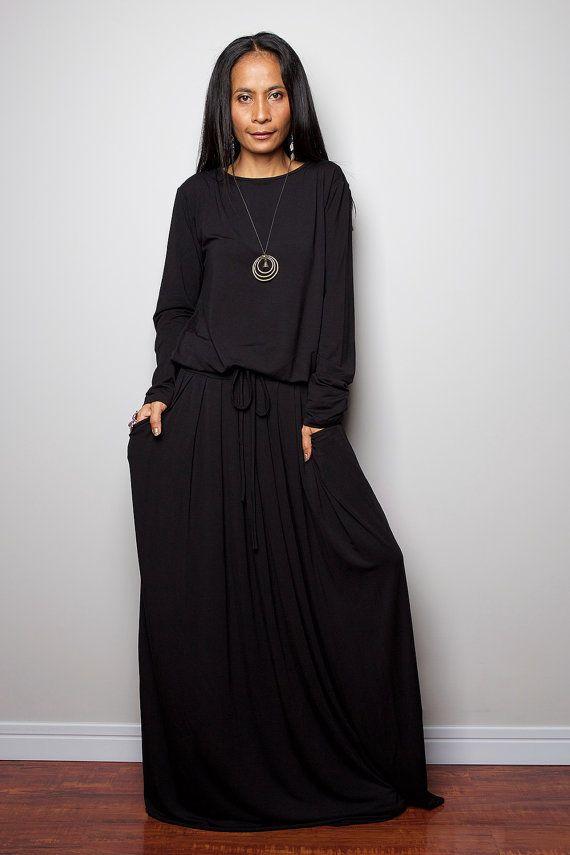 Robe maxi noir manche longue