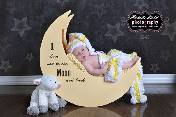 I love you to the moon and back baby boy or baby girl elf hat and blanket set crochet photography prop by babiesbugsandbees on etsy