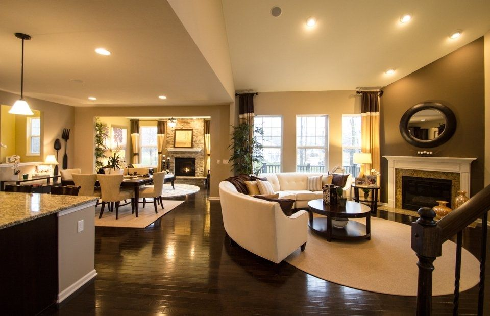 Open floor plan layout all hardwood floors through to Open floor plan living room furniture arrangement