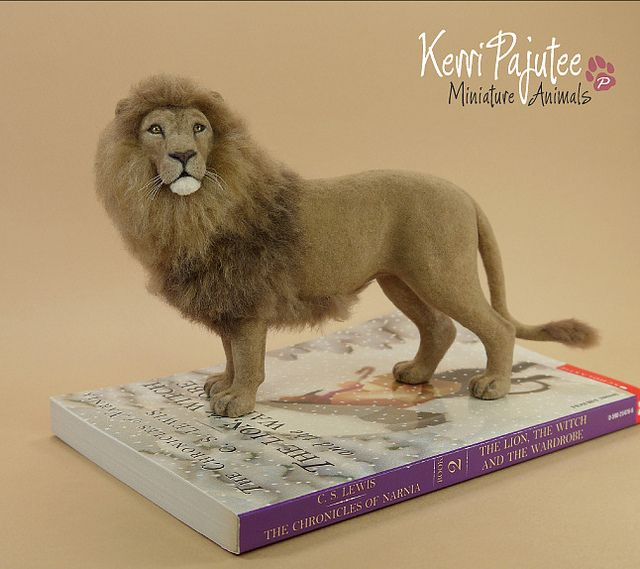 Miniature 1:12 Lion sculpture (Aslan) - handbuilt polymer clay over foil & wire armature with coat of blended natural fibers...