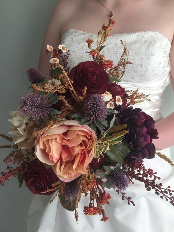 Fall Wedding Bouquet, Silk Wedding Bouquet, Rustic Bridal Bouquet, Burgundy Bouquet, Autumn Flower Bouquet, Artificial Flowers, Hydrangea