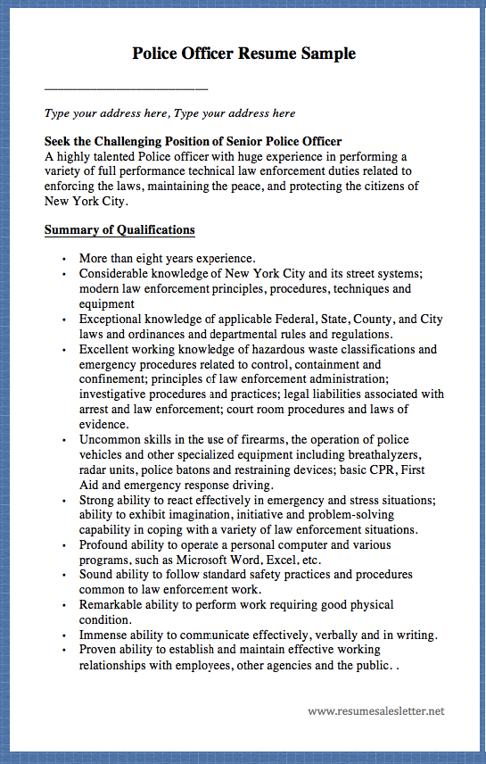 police officer resume sample                           type your address here  type your address