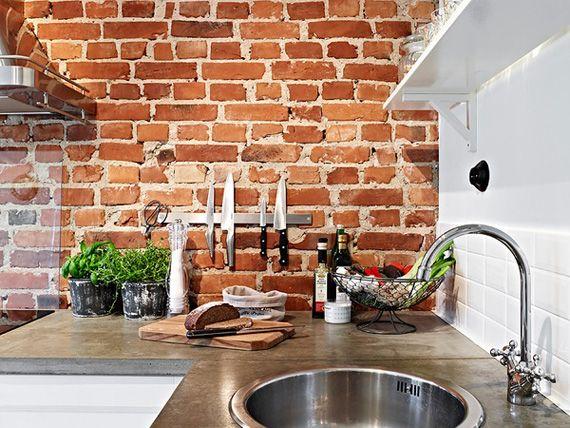 Ladrillo visto para interior estilo r stico en casa - Cocina de ladrillo ...