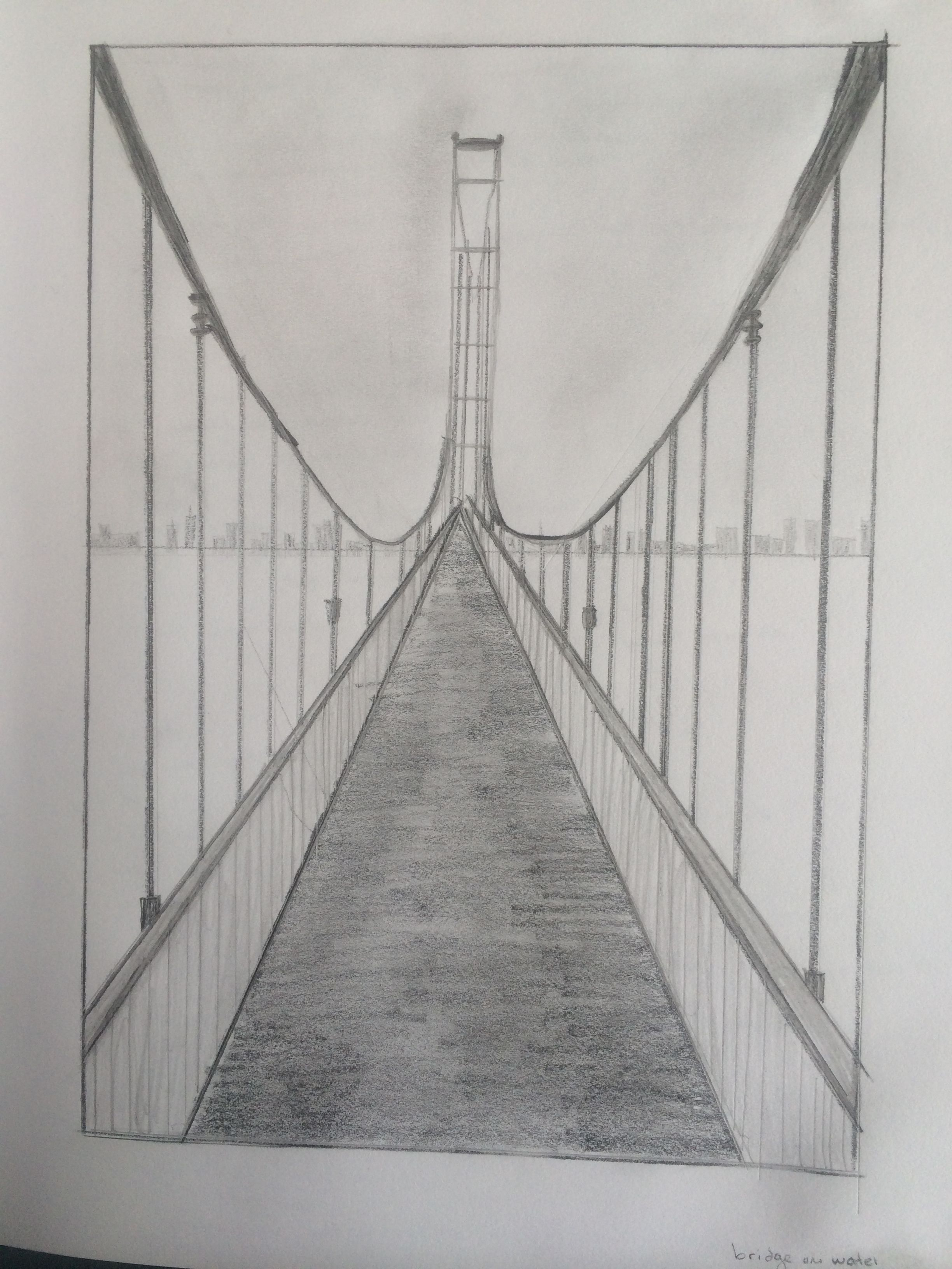One point perspective bridge my paintings and drawings for Exterior 1 point perspective