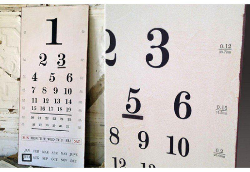 Vintage Eye Chart Calendar Wall Art Antique