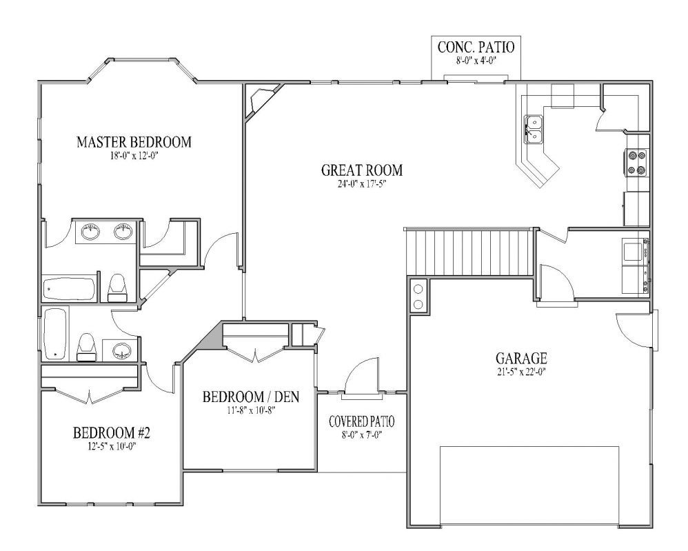 simple open ranch floor plans open floor plan homes open - Floor Plans For Homes