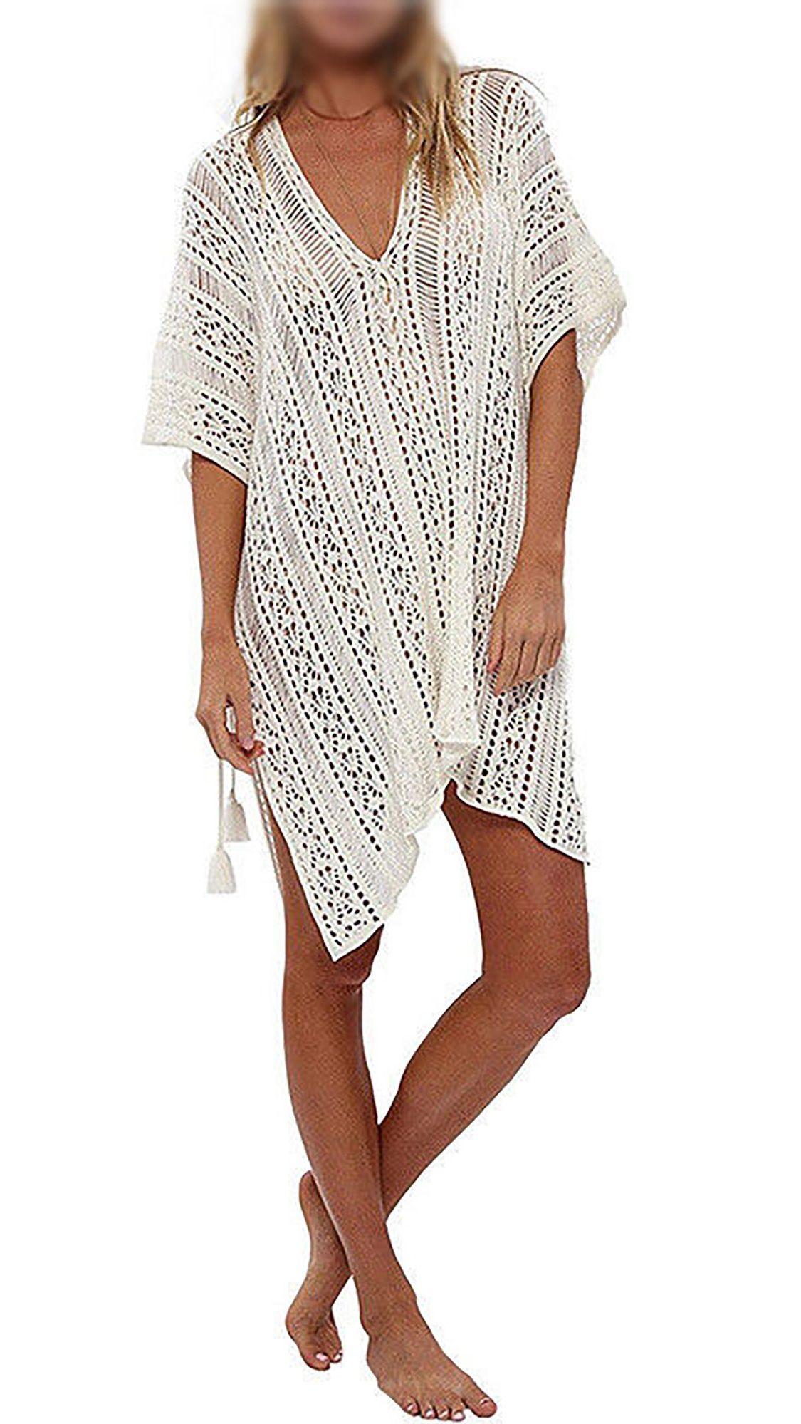 7891e7c753c1 Swim Cover ups Women Knit Lace Crochet Bikini Beachwear V-neck Hollow Out  Loose Beach Dress Tops Summer Bathing Suit Crochet