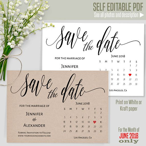 june 2018 save the date printable wedding template save the date
