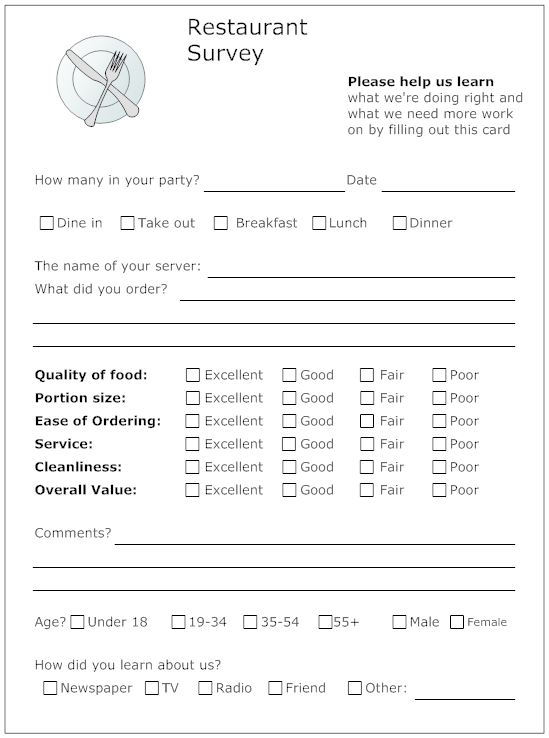 Example Image Restaurant Survey Form  Resident Retention