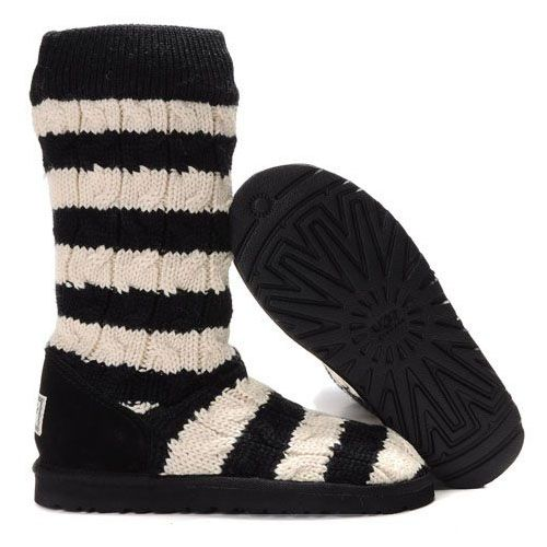 UGG Classic Tall Stripe Cable Knit 5822 Black White http://uggbootshub.com/classic-ugg-boots-ugg -classic-stripe-cable-knit-5822-c-58_69.html