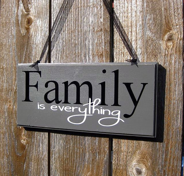 Family Wood Sign Grey Black And White Home Decor