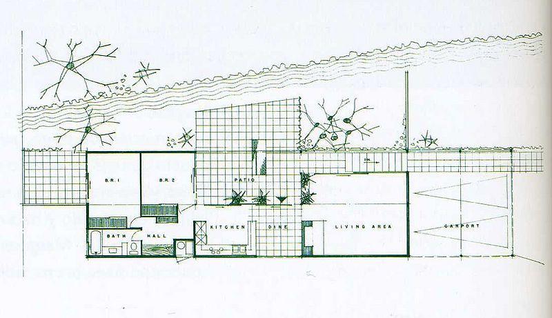 Pierre Koenig\'s Lamel House floor plan | Mid Century Exteriors ...