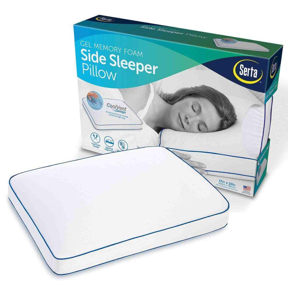 Serta Gel Memory Foam Side Sleeper Pillow 17 D X 23 W X 2 H Serta Side Sleeper Pillow Gel Memory Foam Side Sleeper
