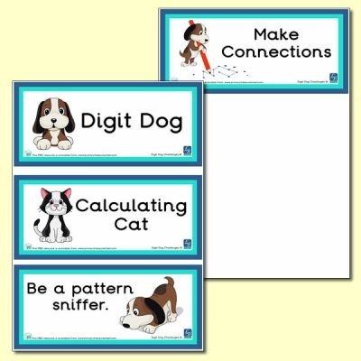 Digit Dog Calculating Cat Themed Flashcards Math Challenge Child Teaching Primary Children