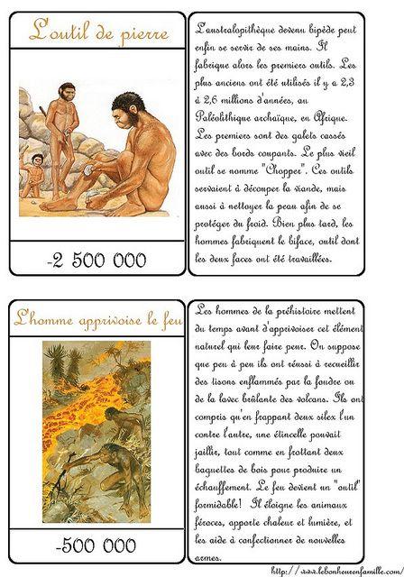 Cartes Outils En Pierre Et Le Feu Histoire Cm1 Histoire Ce2 Chronologie Histoire