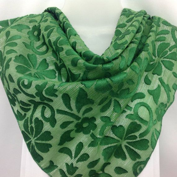 Check out Green Silk Shawl, Burnout silk, Big Scarf, Gift for teacher or wife, Holiday Gift idea, Best friend Coworker Gift on blingscarves