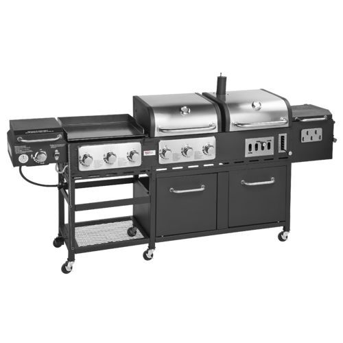 Outdoor Gourmet Pro™ Triton Supreme 7-Burner Propane and Charcoal Grill, Griddle and Smoker Com