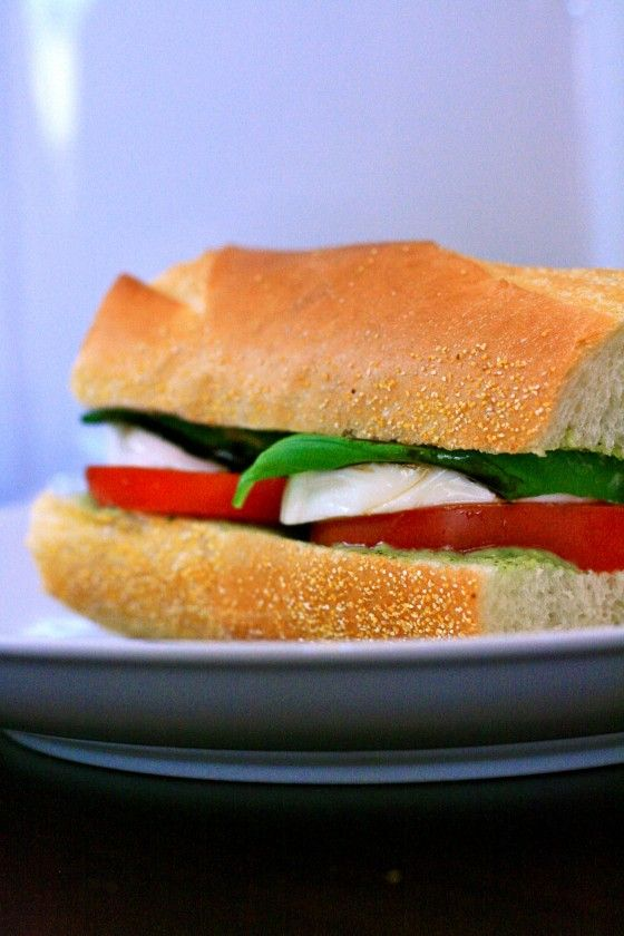 Caprese Baguette with Pesto Mayo Balsamic Reduction