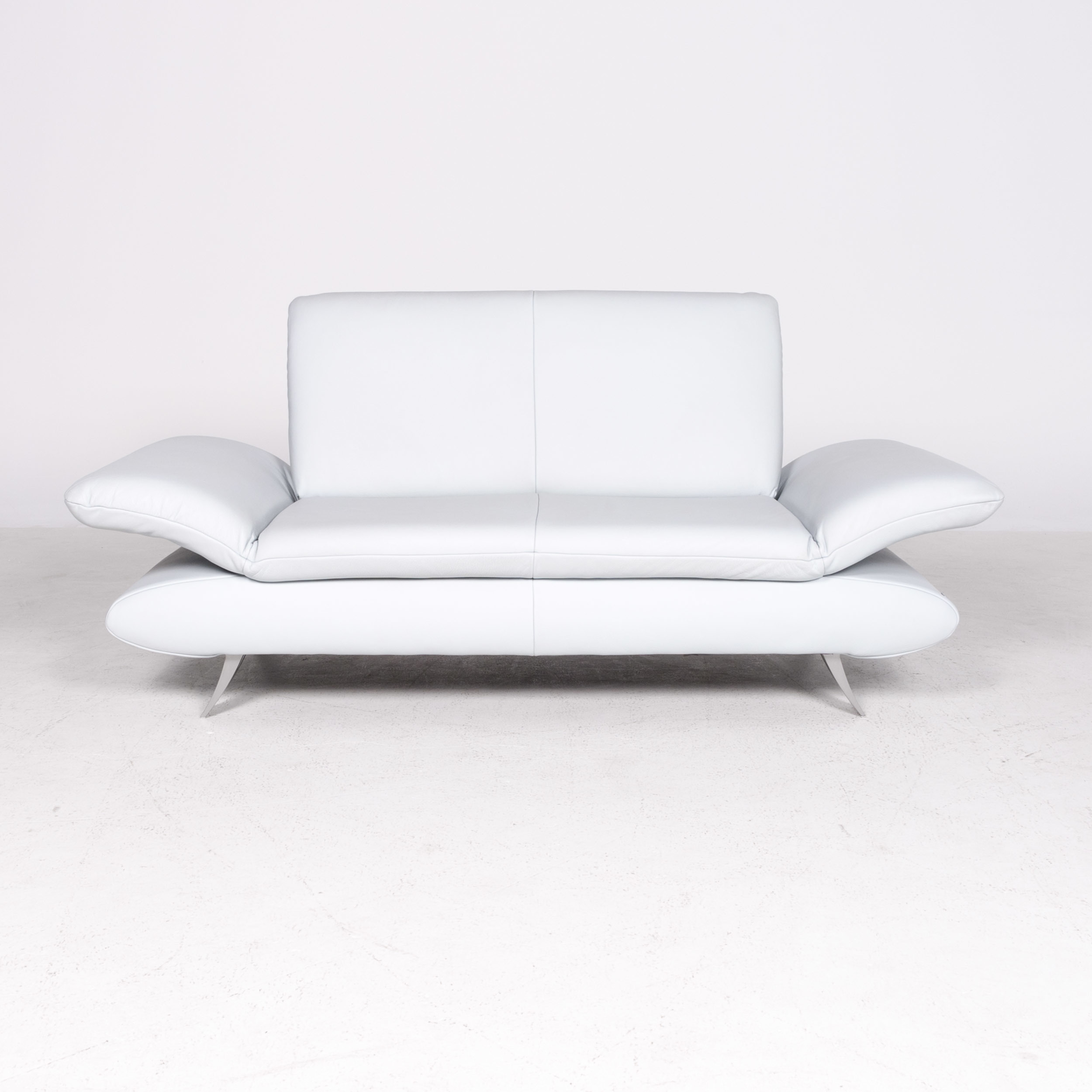 Best Koinor Rossini Designer Leather Sofa Blue Ice Blue Light 400 x 300