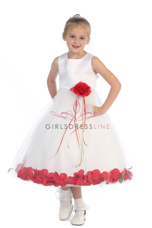 90554245b28 White Red Sleeveless Satin Flower Petal Flower Girl Dress K160B-RD2  33.95  on www.GirlsDressLine.Com