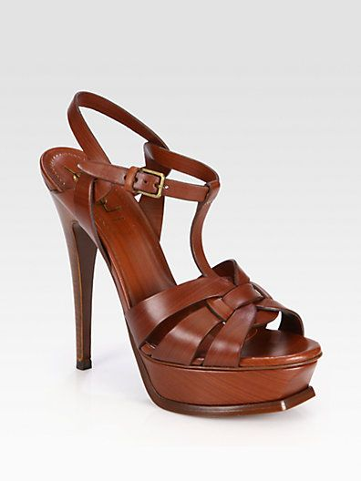 ca278bc2cc8f6 Yves Saint Laurent YSL - Painted Leather Tribute Platform Sandals in ...