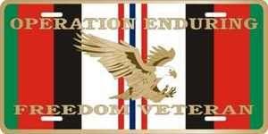 Operation Enduring Freedom Veteran License Plate