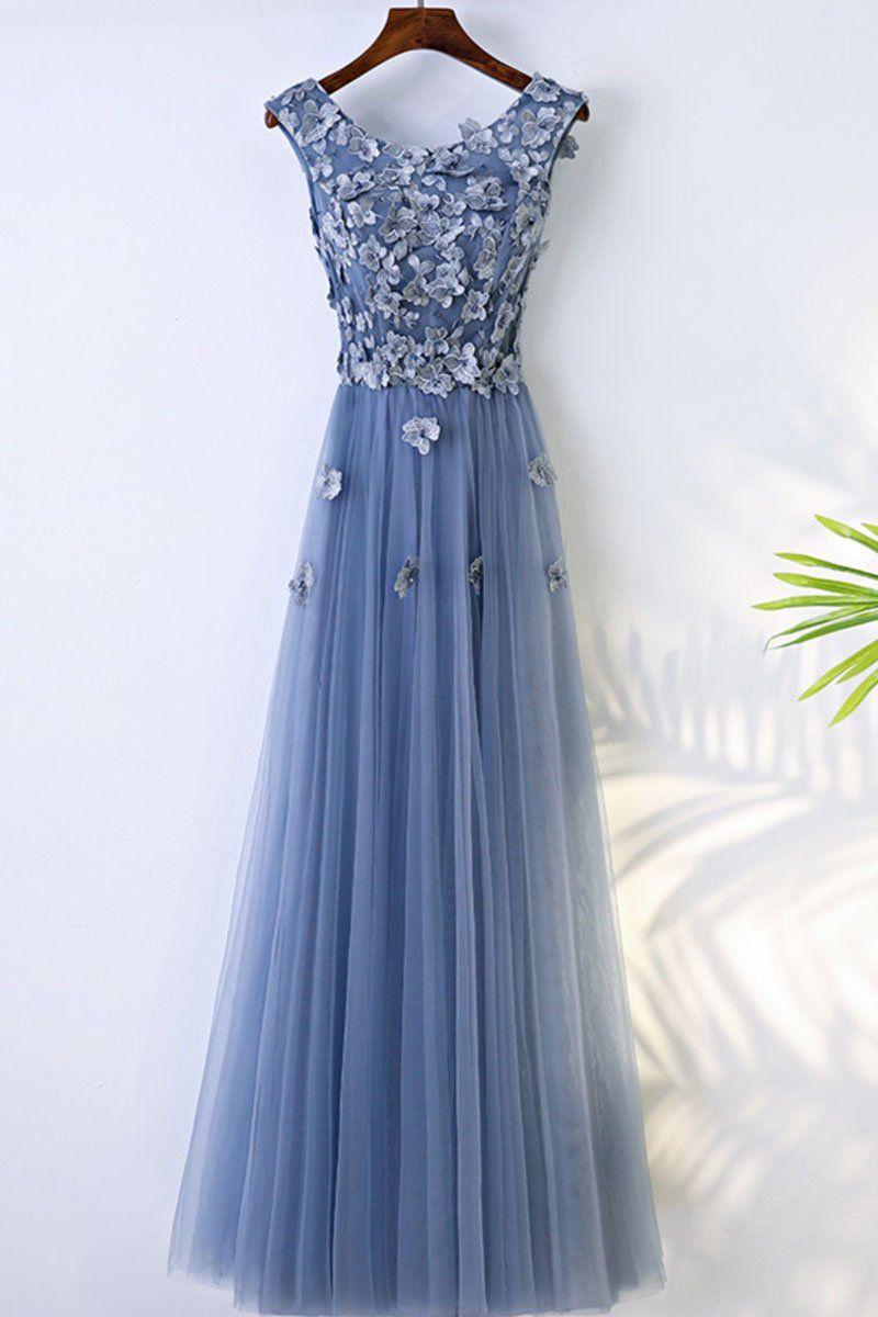 0d38967406b Blue round neck tulle lace applique long prom dress