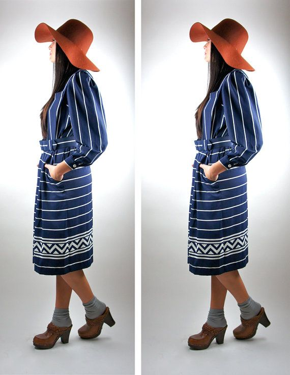 80s Nautical Day Dress / Navy / White by HotelBrahvoVintage