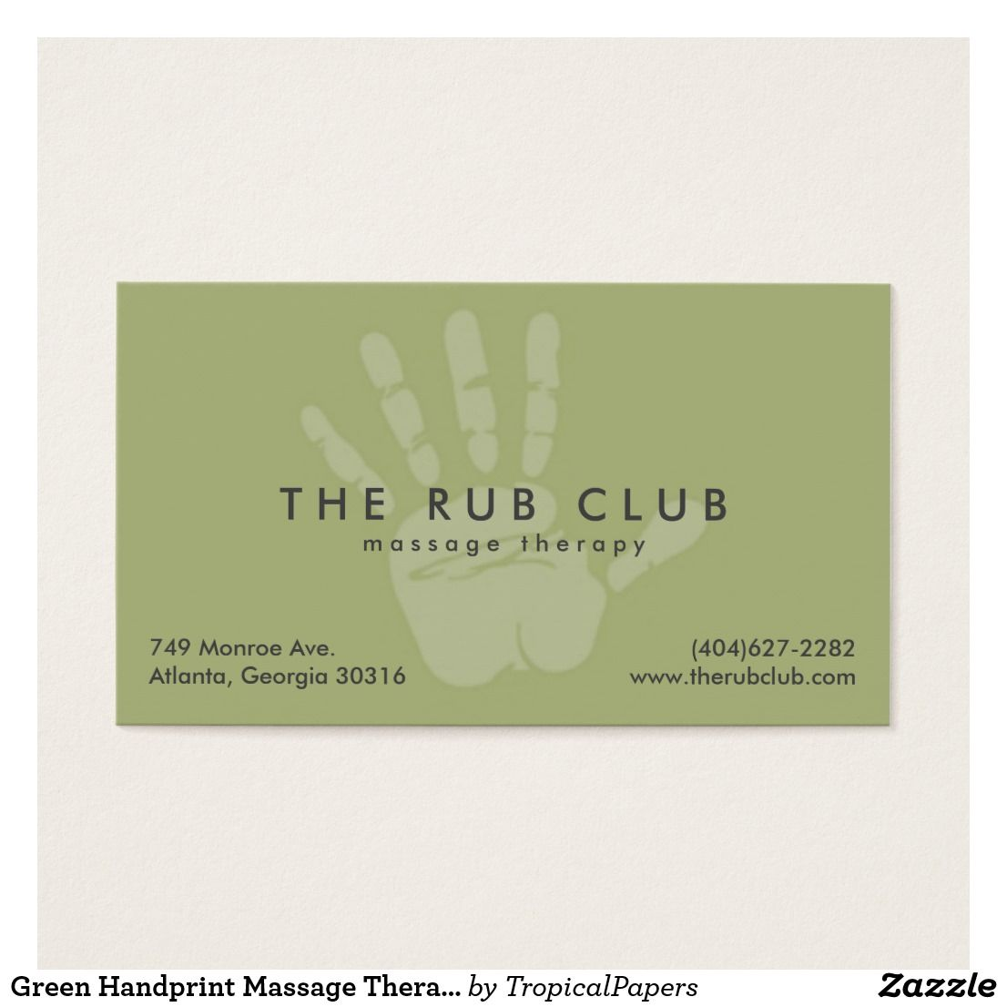 Green Handprint Massage Therapy Business Card