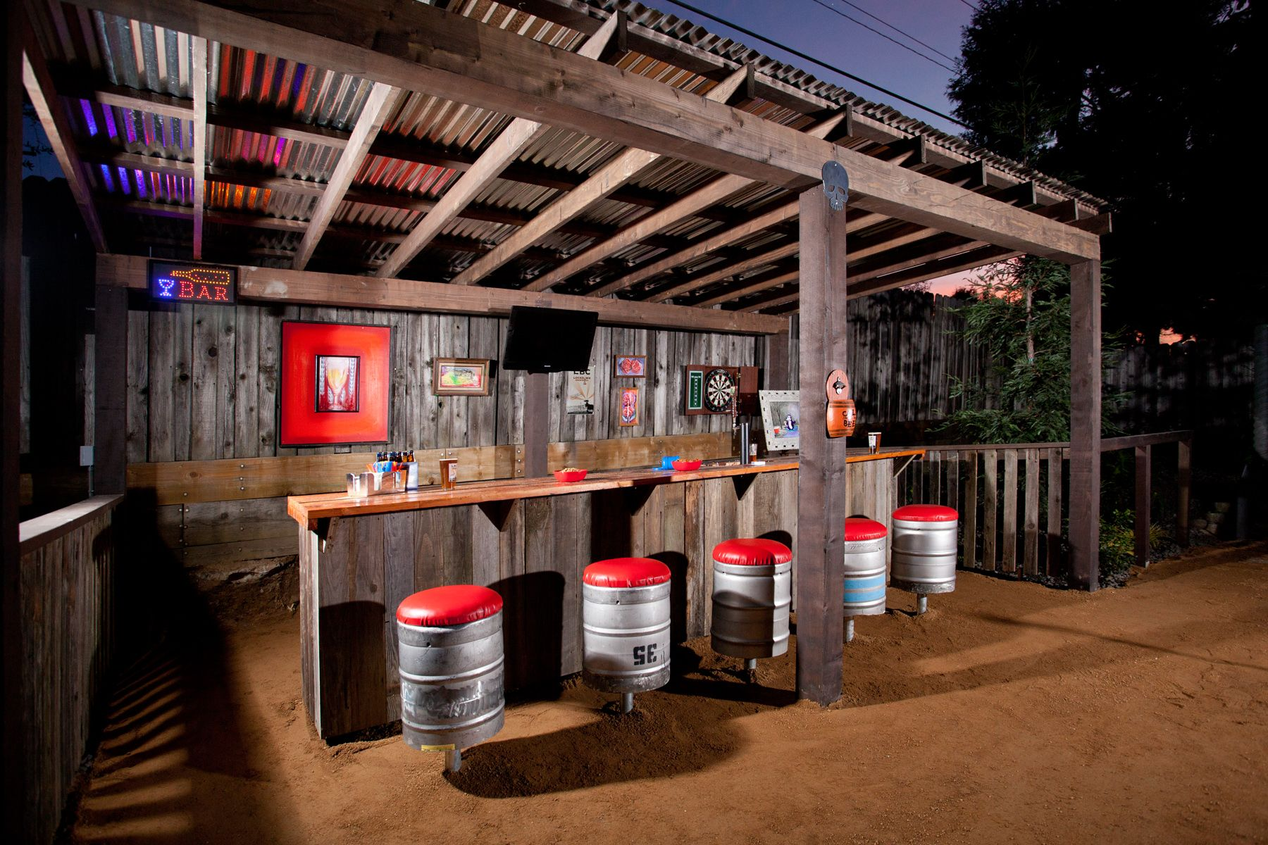 Tavern inspired pergola and bar with keg stools. | Outdoor ...