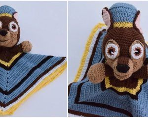Paw Patrol Chase Lovey Free Crochet Pattern - Easy crochet blanket, Free crochet pattern, Paw patrol, Crochet patterns, Free crochet, Chase paw patrol - Whoever has kids under 10 knows what Paw Patrol is all about  This adorable Chase lovey will be a fan favorite amongst the show's faithful  The finished project is a small safety blanket 14' by 14', with the upper torso of chase, the police pup  This lovey is easy to