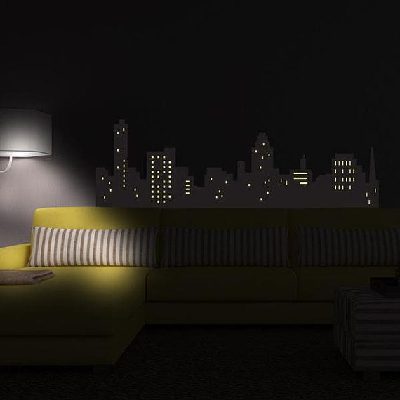 glow in the dark batman wall sticker cityscape wall decal
