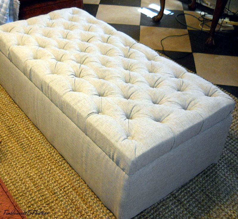 Astounding Diamond Tufted Ottoman Linen Blend Fabric Tufted Ottoman Machost Co Dining Chair Design Ideas Machostcouk