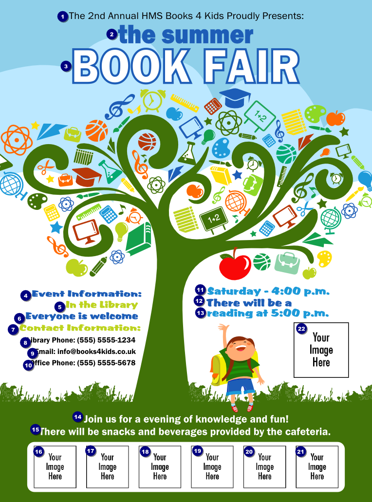 book fair flyer posters flyers flyers book and school tree all purpose logo flyer