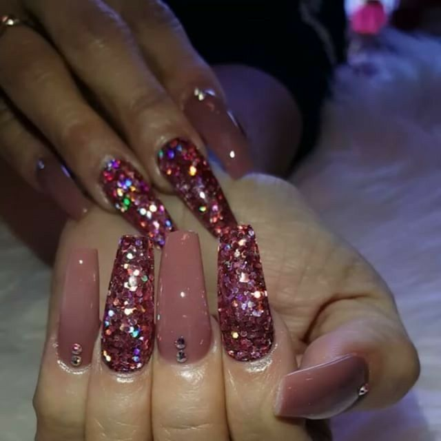 Tapered Square Nails Glitter Nails Rose Nails Nails With