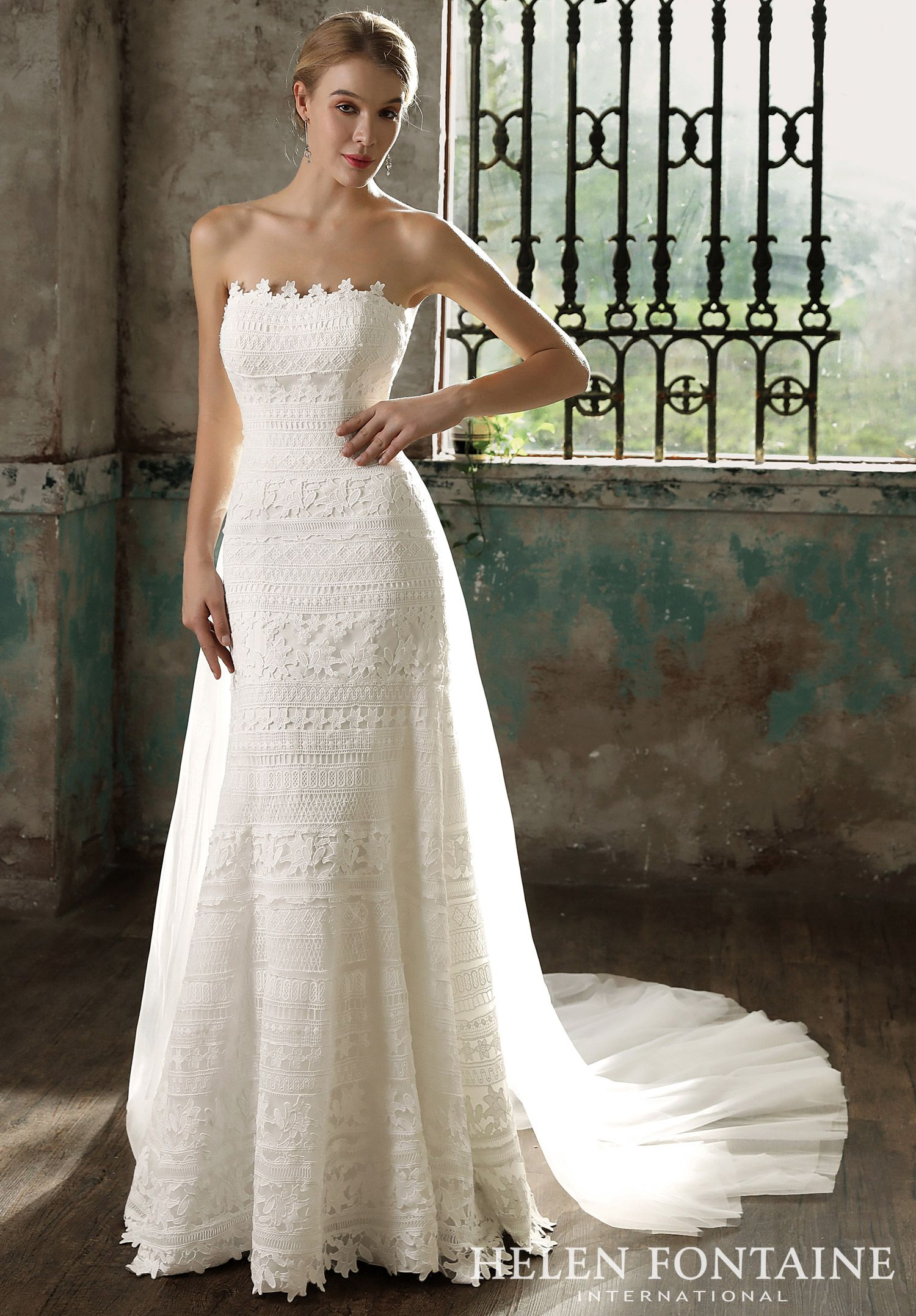 Detachable Tulle Train on a Floor Length Lace Strapless