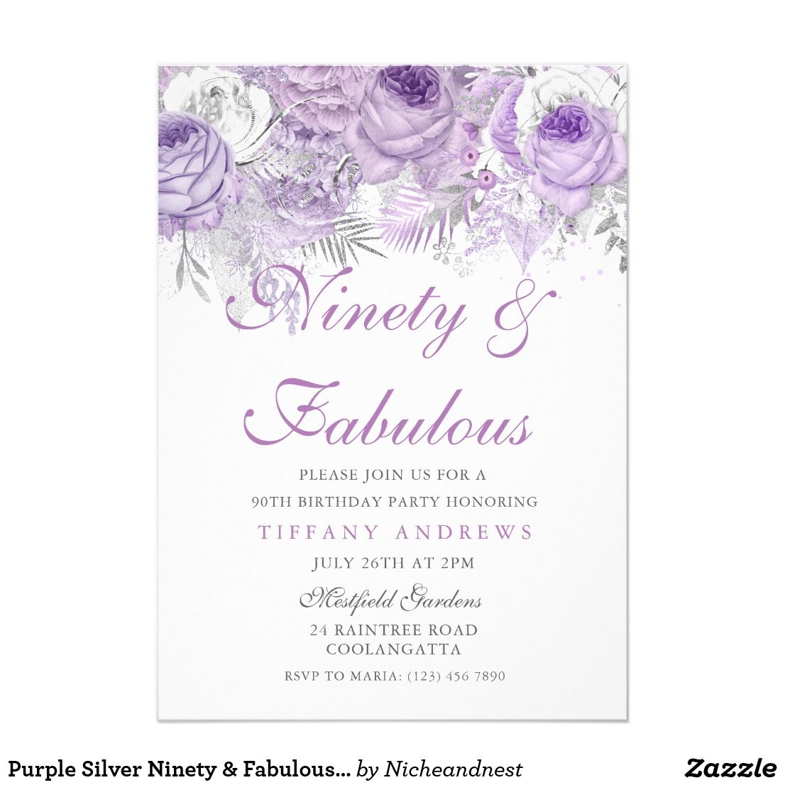 Purple Silver Ninety Fabulous 90th Birthday Card Invitation See Matching Collection In Niche And Nest Store