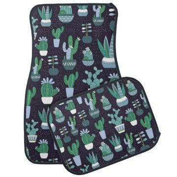Cute sketchy illustration of cactus pattern car floor mat | Zazzle.com