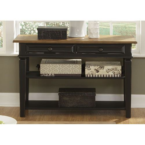 Bungalow Ii Driftwood And Black Sofa Table Liberty Furniture