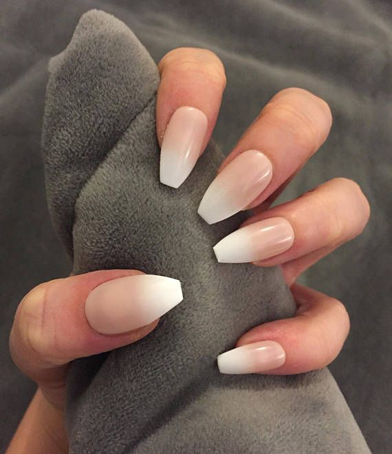 FALSE NAILS - Natural Tan French Ombre Baby Boomer - Stick On - The ...