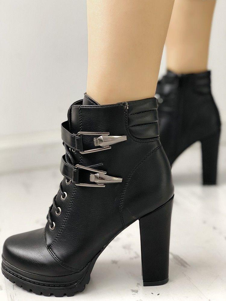 dc1641af8af Lace-Up Buckle Platform Chunky Heeled Ankle Boots