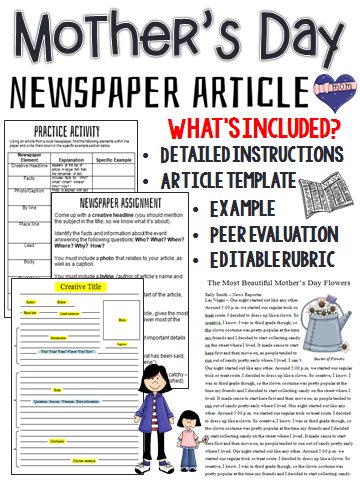 Mothers Day Newspaper Article Writing Options Template Rubric