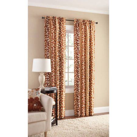 Mainstays Canvas Milan Print Curtain Panel, Set of 2, Brown